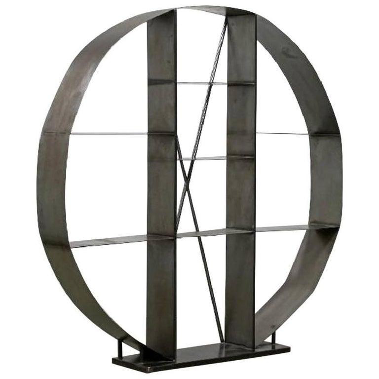 Industrial Steel Open Shelving Room Divider Round Store Display