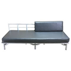 Midcentury French White Lacquered Bamboo Daybed