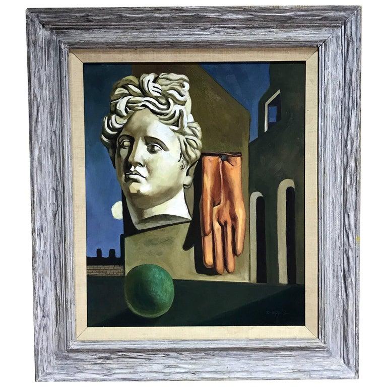 Midcentury Surrealist Still Life, After Gorgio De Chirico For Sale