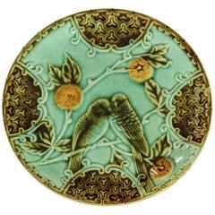 French Majolica Desert Plate Signed Salins