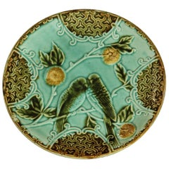 French Majolica Dessert Plate Signed Salins