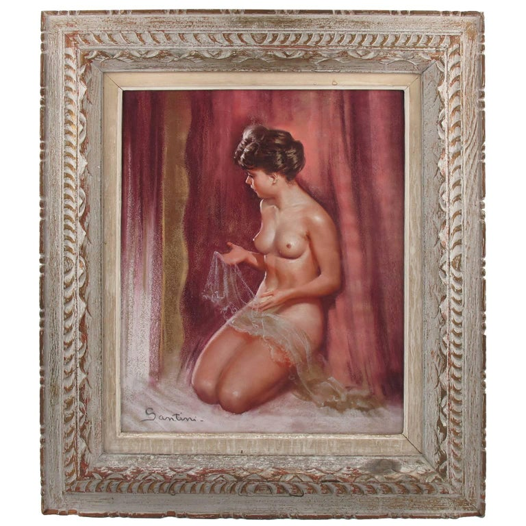 French Pio Santini Pastel Painting Female Nude with Lace