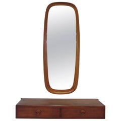 Danish Teak Hall Shelf and Mirror by Hansen and Guldborg