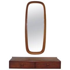 Danish Teak Hall Shelf and Mirror by Hansen and Guldborg