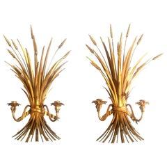 Hollywood Regency Midcentury Gilt Metal Wheat Sheaf Sconces