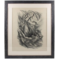 Charcoal Drawing Lithograph 'Tales of the Parrot' by A. Uzarski, Signed, 1919