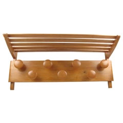 Large French Midcentury Wall Mounted Maple Wood Coat Rack and Storage, 1950s