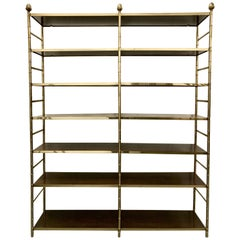 Large Brass Faux Bamboo Etagere with Inset Wood Shelves