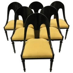 Six Neoclassical Style Lacquered Spoon Back Dining Chairs