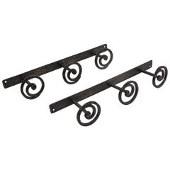 French Art Nouveau Wall Mounted Pair of Wrought Iron Coat Rack, circa 1910s