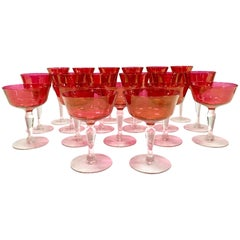 60'S Crystal Optic Cranberry & Clear Footed Stem Drink Glasses S/19