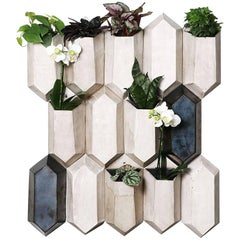 Faceted Modular Ceramic Living Wall Planters, Set of 14 Pieces