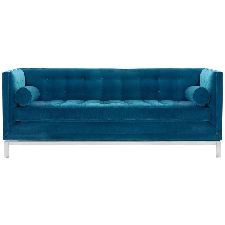 Lampert Sofa In Peacock Velvet For Sale