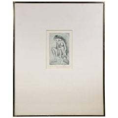 Framed Etching of a Nude Woman by Frederico Cantu