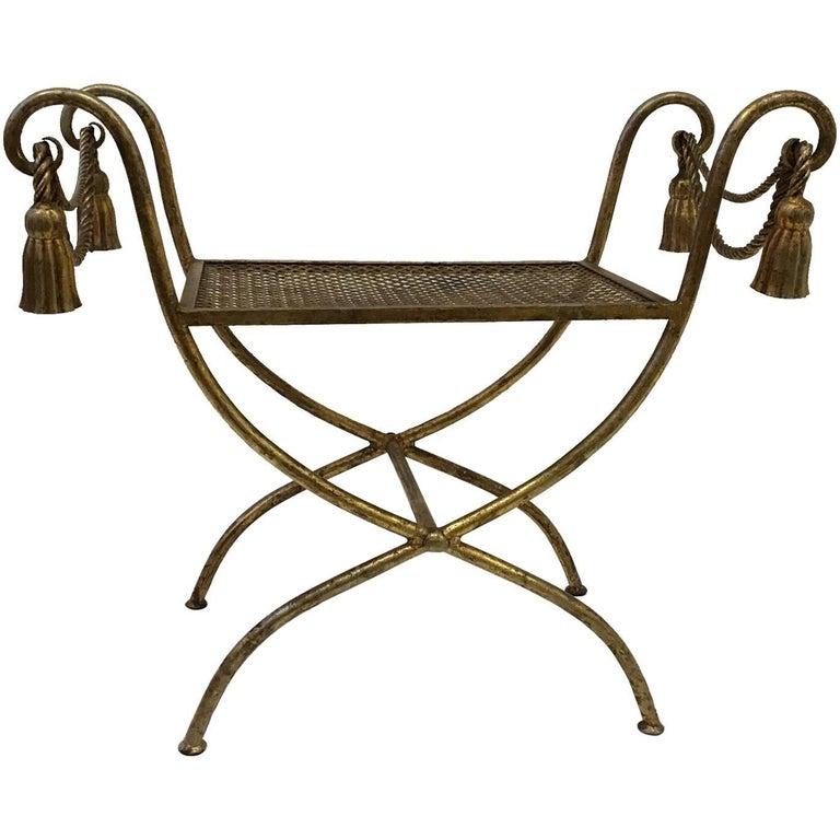 Italian Gilded Iron Vanity Stool