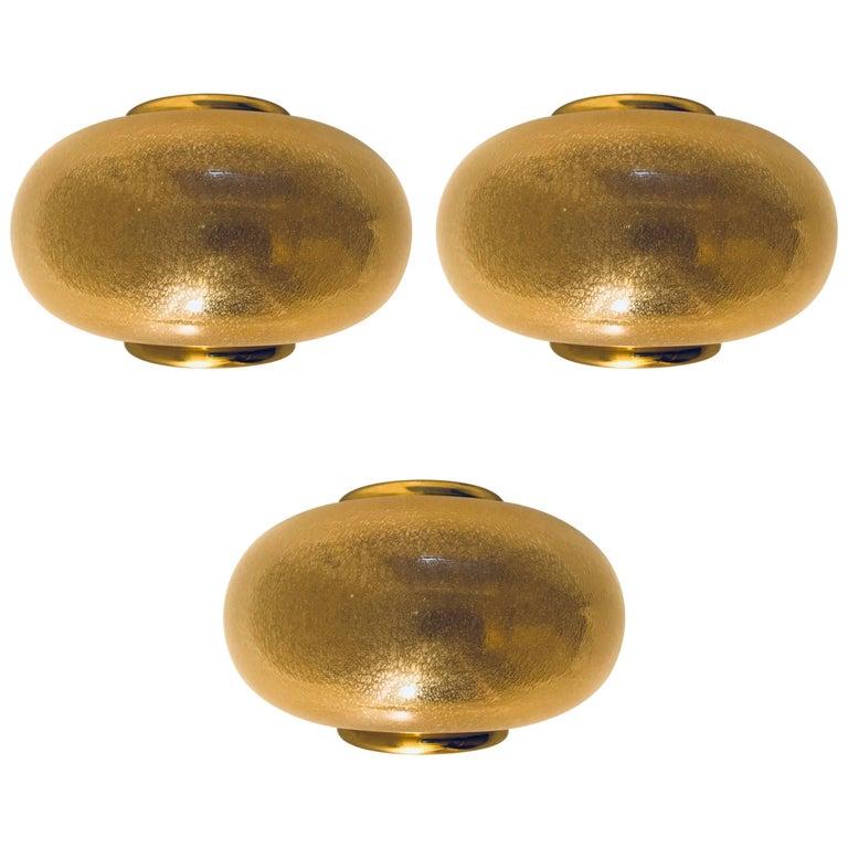 Set of Three Barovier Murano Gold Glass Wall Lights