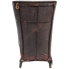Footed Carrying Basket from Laos Bamboo and Rattan Mid-20th Century