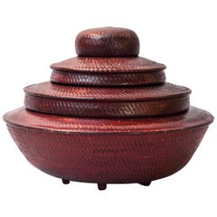 Tiered Red Lacquer Offering Vessel, Hsun Gwet, Burma, Mid-20th Century, Rattan