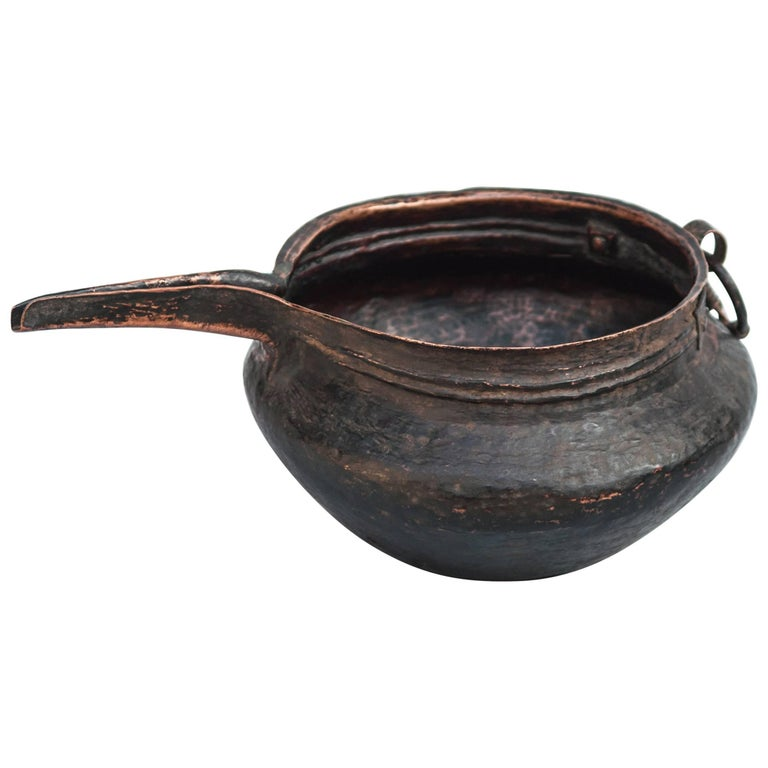 Copper Pot with Spout, Hand-Hammered, Tibet, Mid-20th Century