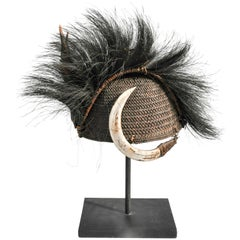 Rattan Hat with Boar Tusk Goat Hair & Antler, Konyak Naga, Mid-20th Century