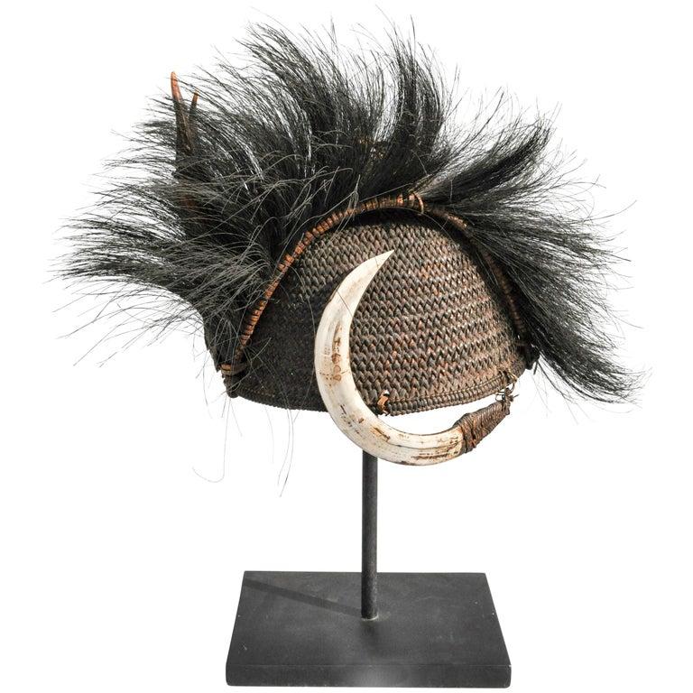 Rattan Hat with Boar Tusk Goat Hair & Antler, Konyak Naga, Mid-20th Century