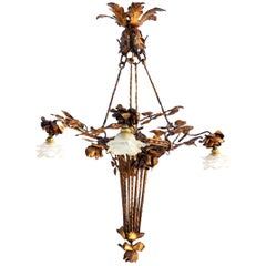 Arts & Crafts Chandelier Gilded Iron Tole Floral Bouquet Frosted Glass Shades