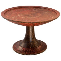 Wooden Offering Tray on Stand, Bali, Mid-Late 20th Century, Hand-Painted
