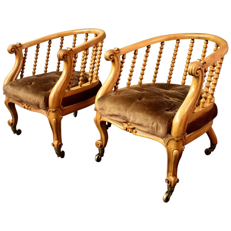 Pair of Victorian Satinwood Tub Chairs