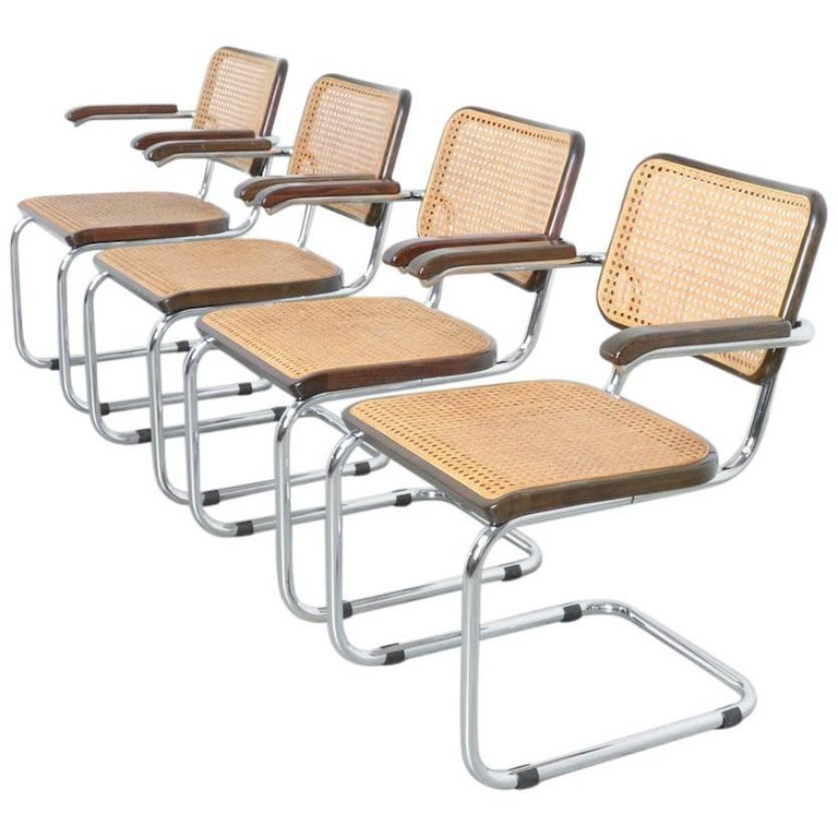 Set of Four Cesca B64 Dining Chairs by Marcel Breuer for Thonet