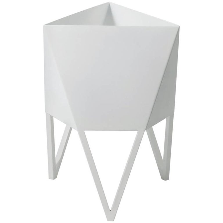 Large Deca Planter, Glossy White Powder Coated Steel, Force/Collide, 2017