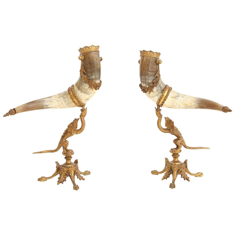 decorative antique pair of Mounted Horns For Sale