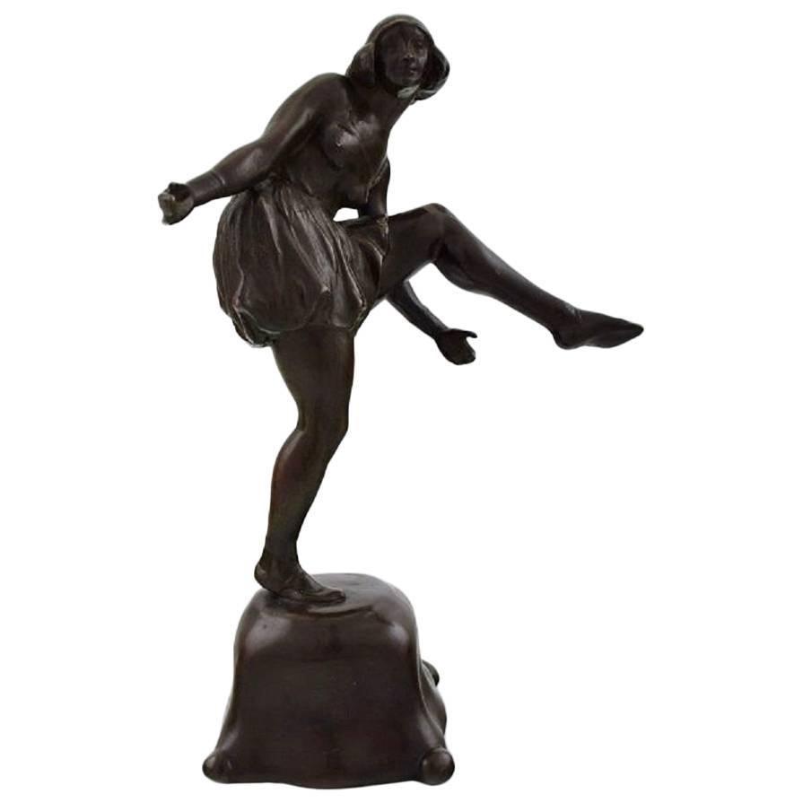 Axel Locher Dancer, Art Deco Bronze Sculpture, 1920s-1930s
