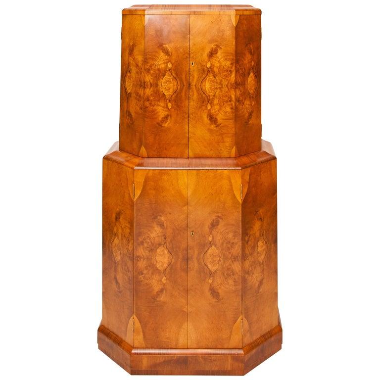 Art Deco Cocktail Cabinet Beautiful Walnut For Sale