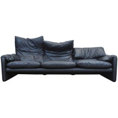 Cassina Maralunga Designer Sofa Black Leather Three-Seat Couch Function Modern