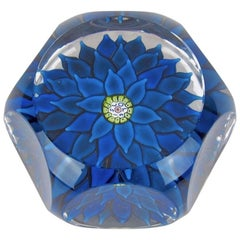 Vintage Saint Louis Blue Dahlia Faceted French Paperweight 1970