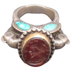 Ethnic Carnelian and Turquoise Intaglio Ring