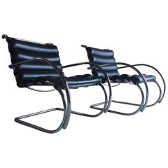 Original Knoll Studio Mr Lounge Chairs Ludwig Mies Van Der Rohe Black Leather