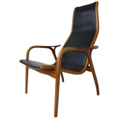 Ingve Ekstrom 'Lamino' Easychair in Teak and Leather, 1956
