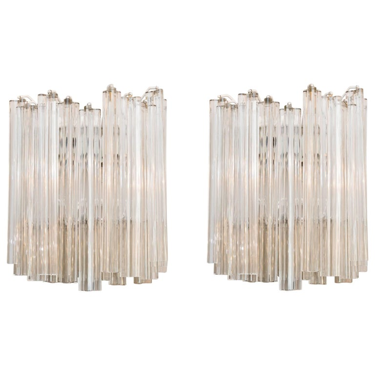 Pair of Wall Lamps by Venini, Italy, circa 1960 For Sale