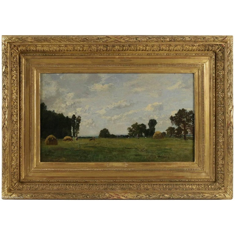 Eugene Maxime Vallée, Barbizon School, Field and Its Haystack, Oil on Panel