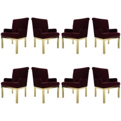 Set of Eight Milo Baughman Style Velvet and Brass Dining Chairs