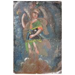 19th Century Mexican Tin Retablo Depicting Saint Michael