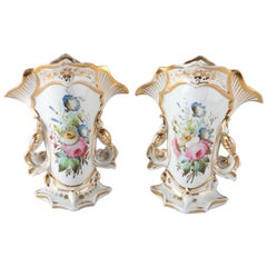Pair of Antique French Old Paris Hand-Painted & Gilt Handled Spill Vases