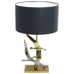 Decorative Silver and Gold Colored Bird Table Lamp