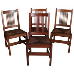 Four Arts & Crafts Mission Oak L. & J.G. Stickley Spindle Chairs, 20th Century