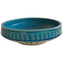Kähler by Nils Kähler, Stoneware Bowl in Blue Glaze, 1960s, Denmark