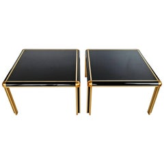 Pair of 1970s Brass and Glass End Tables