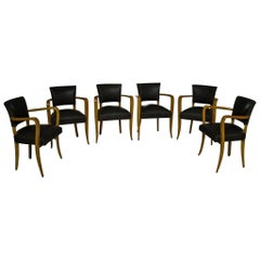 Six Art Deco Armchairs Birch Reupholstered and Recovered with Leather