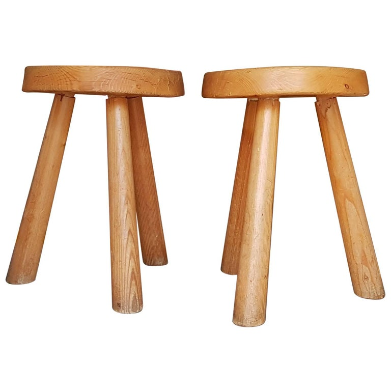Pair of Charlotte Perriand Stool from 1966 in Bois D'Arolle