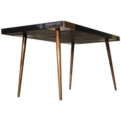 Contemporary Dining Table Indigo in Hand-Patinated Brass and Walnut Veneer
